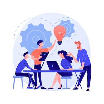 Reunião corporativa. personagens de desenhos animados de funcionários discutindo estratégia de negócios e planejando novas ações. brainstorming, comunicação formal, ilustração do conceito de seminário