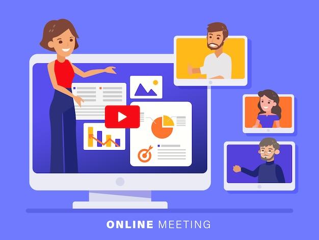 Reunião da equipe de negócios on-line realizada por meio de uma chamada de videoconferência.