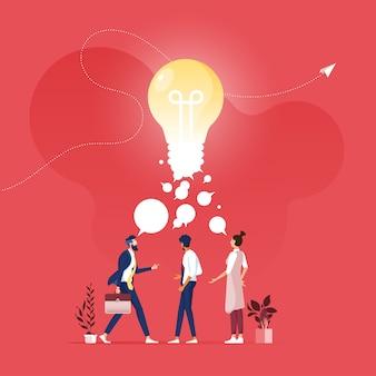 Reunião da equipe de negócios para brainstorming e compartilhamento de conceito de idéias