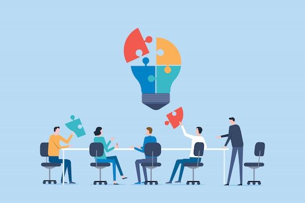 Reunião da equipe de negócios plana para o conceito de brainstorming