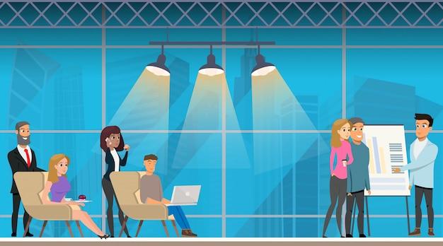 Reunião de apresentação no opentop coworking office.