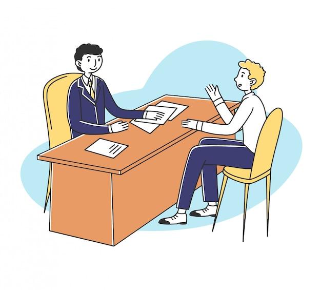 Reunião de candidatos a emprego e gerente de rh para entrevista