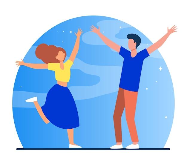 Reunião de casal após a separação. menina e cara caminhando um para o outro com ilustração em vetor plana de braços abertos. romance, namoro, amor
