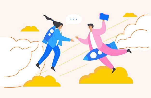 Reunião de casal e conversa sobre compartilhamento de arquivos, ilustração estilo desenho animado