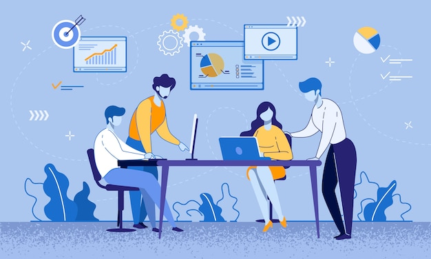 Reunião de colegas de trabalho e processo educacional no escritório