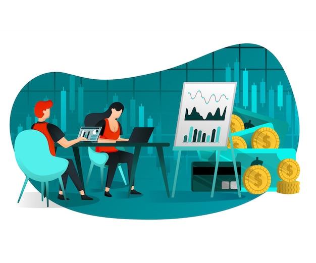Reunião de crescimento de vendas e lucro