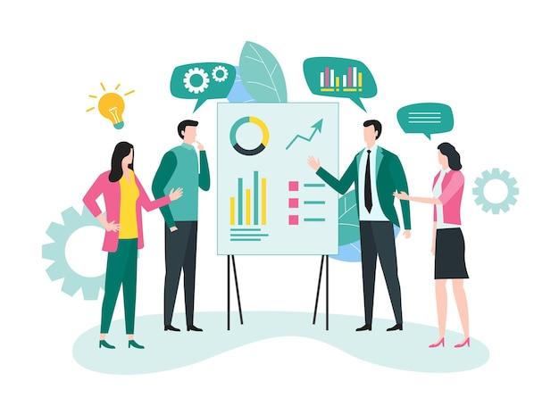 Reunião de equipe e conceito de brainstorming de projeto