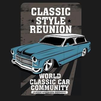 Reunião de estilo clássico, ilustração vetorial de carro