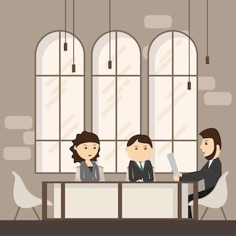 Reunião de executivos discutindo a mesa de escritório empresários trabalhando - ilustração vetorial