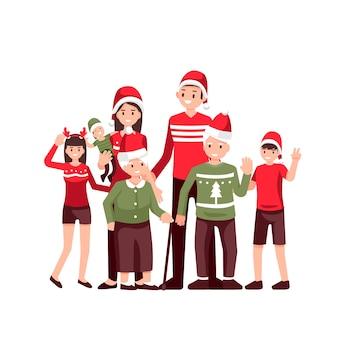 Reunião de família, feliz natal e feliz ano novo Vetor Premium