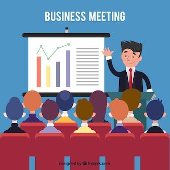 Reunião de negócio com estatísticas