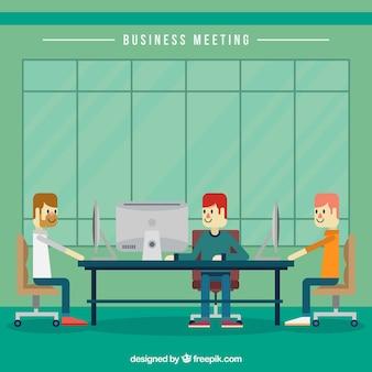Reunião de negócio no design plano