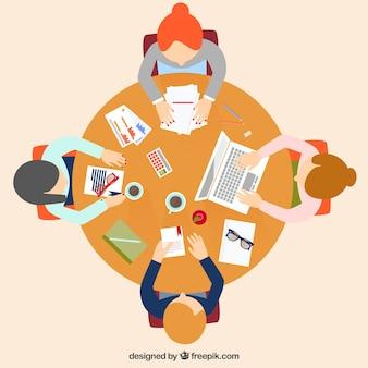 Reunião de negócio no estilo dos desenhos animados