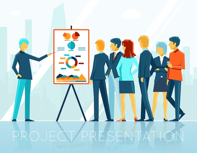 Reunião de negócios, apresentação do projeto. pessoas e seminário corporativo, equipe e grupo, ilustração vetorial