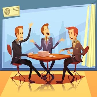 Reunião de negócios com discussão e desenhos animados de símbolos de brainstorming