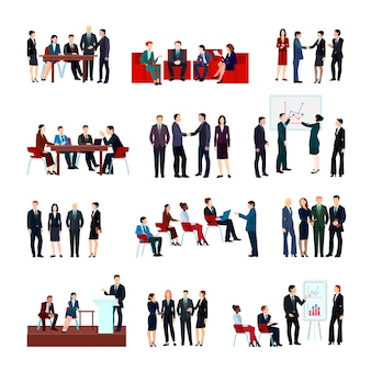 Reunião de negócios conjunto de funcionários e parceiros em seminários de reunião de conferência