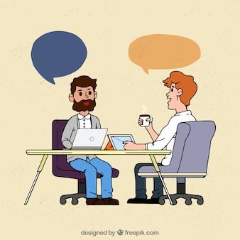 Reunião de negócios desenhada a mão