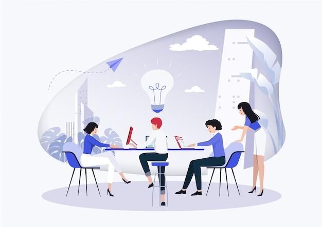 Reunião de negócios e debate de ideias.