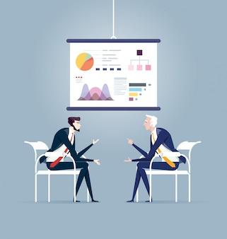 Reunião de negócios e placa de apresentação. vetor de conceito de negócio