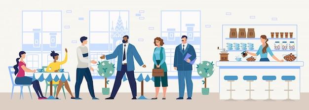 Reunião de negócios em restaurante conceito vector plana