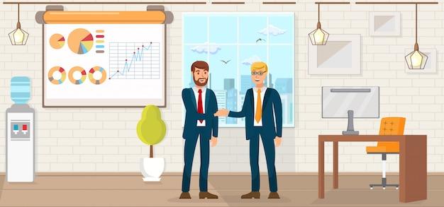 Reunião de negócios. ilustração em vetor plana.