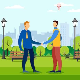 Reunião de negócios na área do parque
