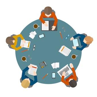 Reunião de negócios na vista superior