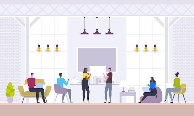 Reunião de negócios, negociação, brainstorming. equipe confiante e bem-sucedida. grupo de jovens modernos discutindo negócios enquanto está sentado no escritório criativo.