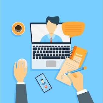 Reunião de negócios online.