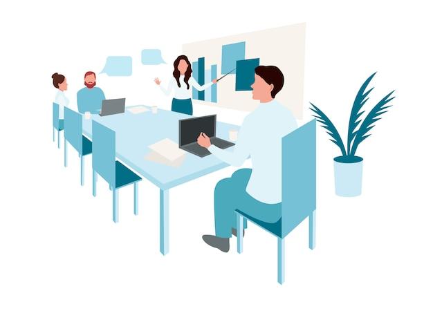 Reunião de negócios. pessoas na conferência de apresentação. empresário no infográfico de estratégia de projeto.