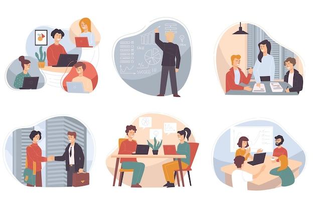 Reunião de parceiros discutindo problemas de negócios e formas de desenvolvimento. cursos e interação com colegas de trabalho. apresentando ideias inovadoras para o sucesso da organização. vetor em estilo simples