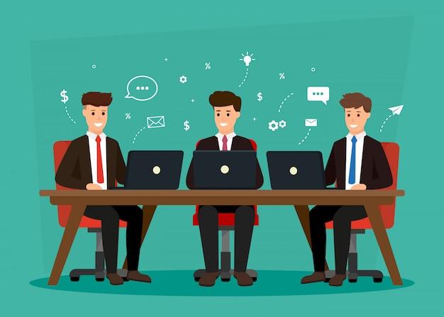 Reunião de personagens de negócios. discussão em equipe criativa no local de trabalho. brainstorming e discussão de idéias.
