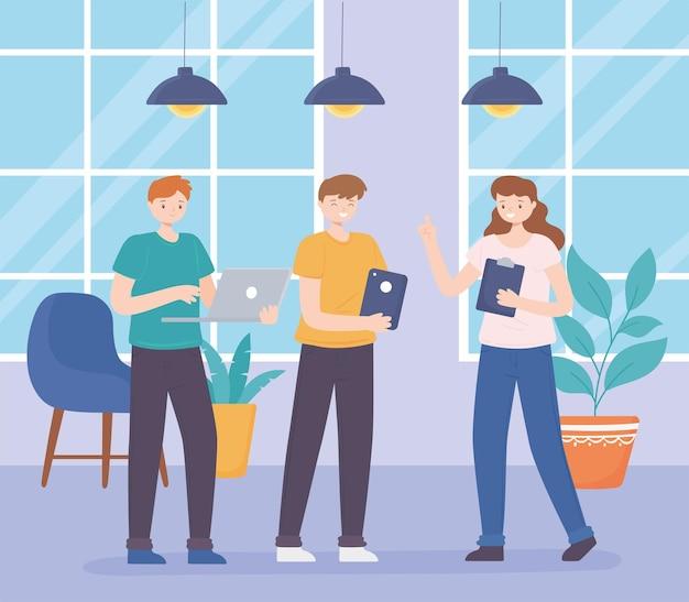 Reunião de pessoas de coworking