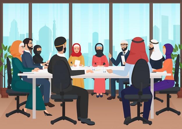 Reunião de pessoas de negócios árabes