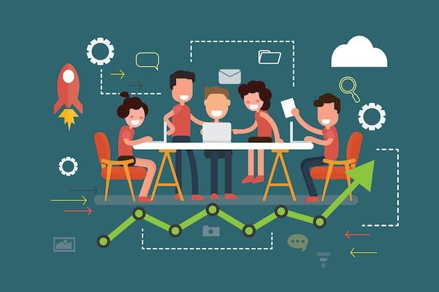Reunião de trabalho em equipe de negócios e conceito de brainstorming