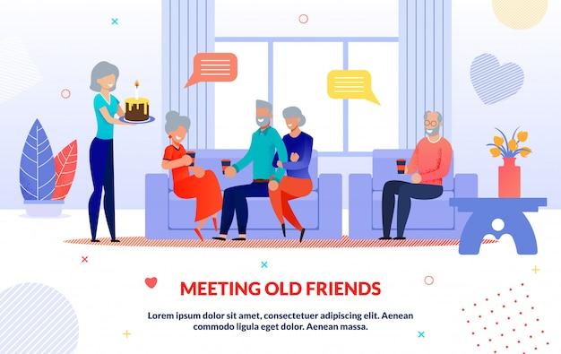 Reunião de velhos amigos e ilustração de festa