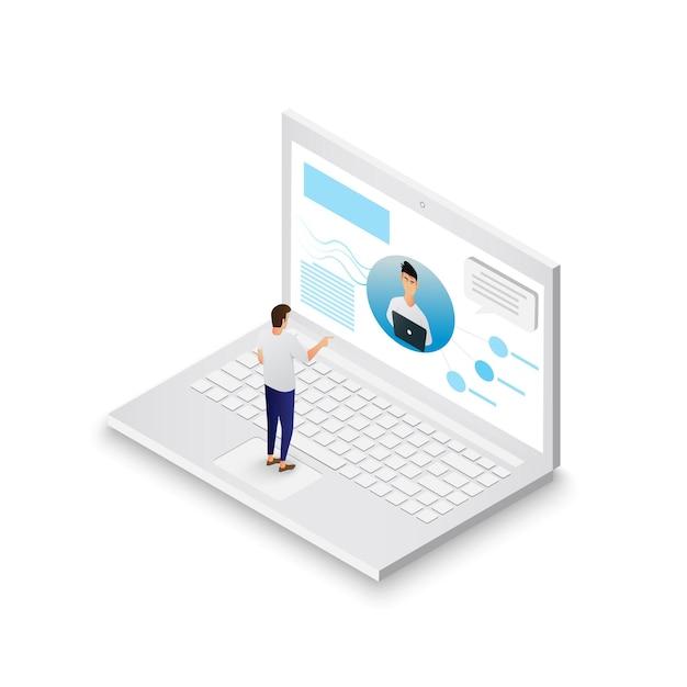 Reunião de videoconferência pela internet e chat de vídeo ao vivo isométrico no laptop. videochamada de negócios