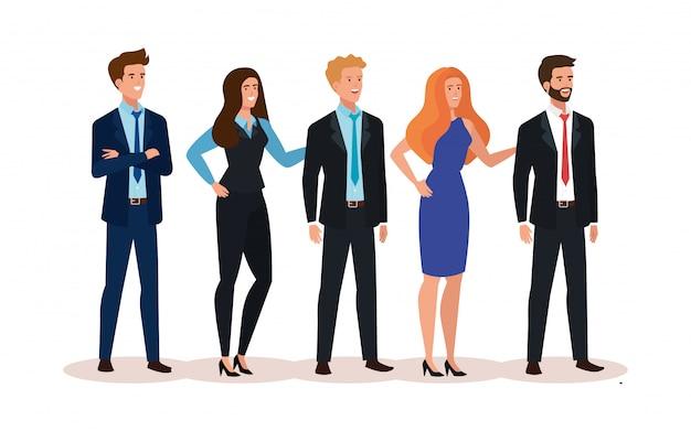 Reunião do personagem de avatar de pessoas de negócios