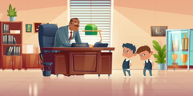 Reunião do professor com as crianças no escritório do diretor. ilustração dos desenhos animados do diretor de escola gentil homem fala com dois meninos culpados. gabinete de administração com diretor e alunos