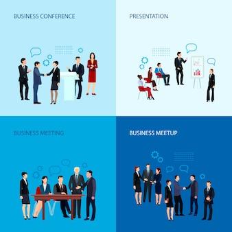 Reunião e conceito de conferência com grupo de pessoas de negócios