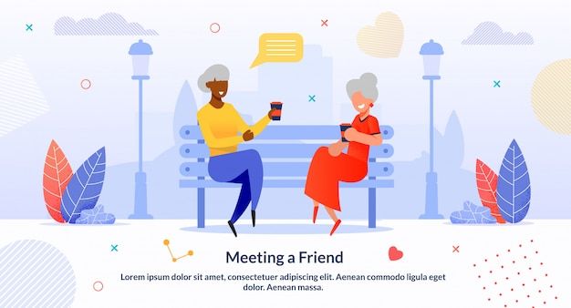 Reunião multi-étnica amigos sênior cartoon plana