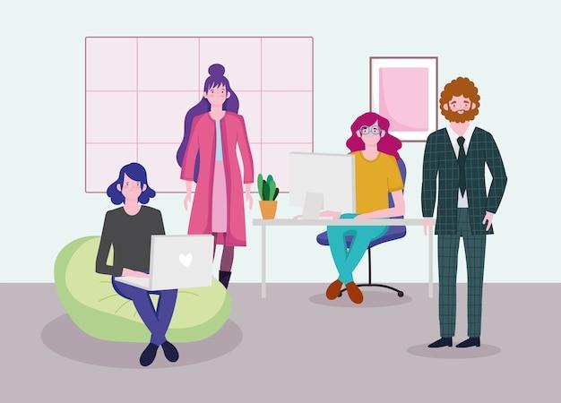Reunião no escritório funcionários e empresário trabalhando