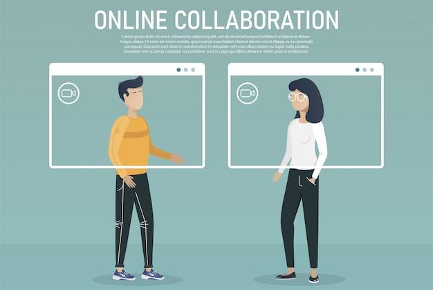 Reunião on-line. aterragem de videoconferência. pessoas na tela do computador e smartphone. reunião de trabalho virtual. ilustração plana