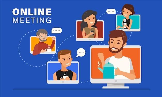 Reunião on-line casual com ilustração de amigos.