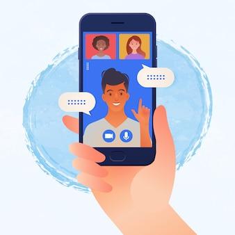 Reunião on-line em smartphone entre jovem e mulher por meio de uma ilustração vetorial de videochamada