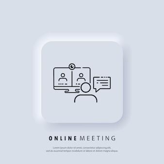 Reunião online. banner do webinar ao vivo. assistindo streaming online em laptop, treinamento em vídeo, seminário. ícone da linha de recursos educacionais. conceito de educação de internet, recursos de aprendizagem e.