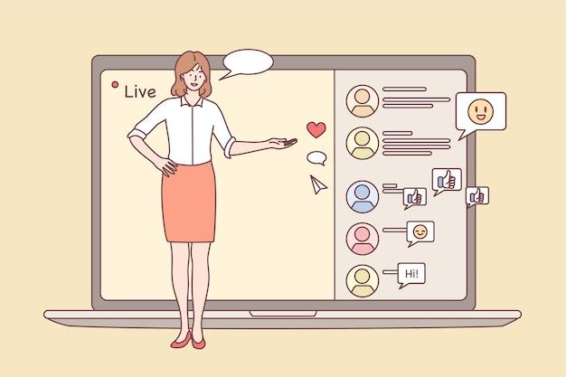 Reunião online, evento de transmissão ao vivo, conceito de atividade remota.