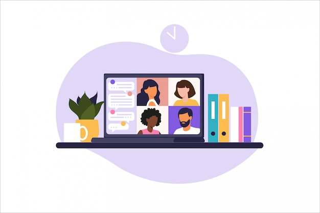 Reunião online via chamada de grupo. pessoas na tela do computador falando com colega ou amigo. videoconferência de conceito de ilustrações, reunião on-line ou trabalho em casa. ilustração no apartamento.