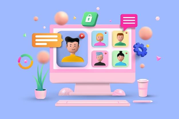 Reunião online, videochamada de conferência virtual, briefing, conceito de trabalho em equipe com formas 3d, caixa de bate-papo, roda dentada, infográfico sobre fundo azul. ilustração em vetor 3d