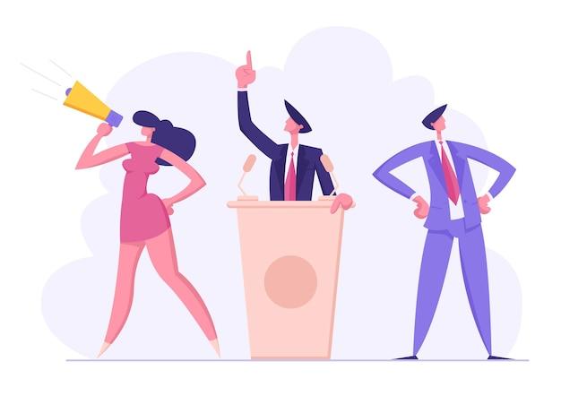 Reunião política com candidato em ilustração de discurso